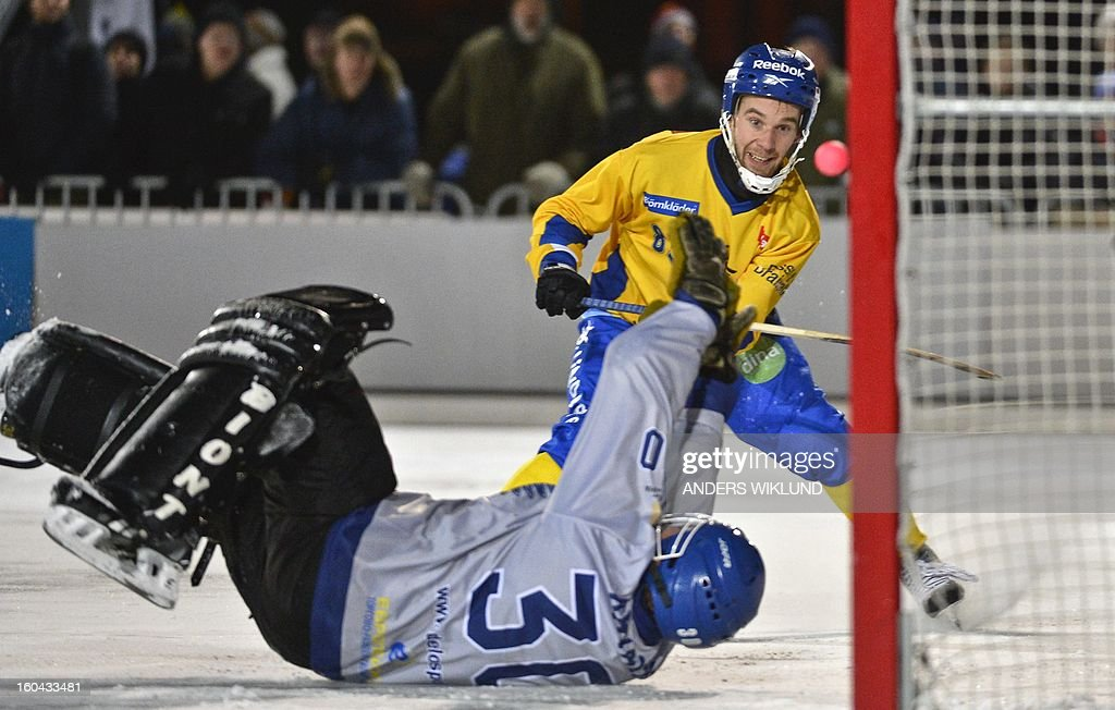 Sweden's Daniel Andersson (R) sees the ball entering the goal for 3-2 as Russia's goalkeeper Kirill Khvalko looks on during the Bandy World Championship match between Sweden and Russia in Goteborg, Sweden, on January 31, 2013.