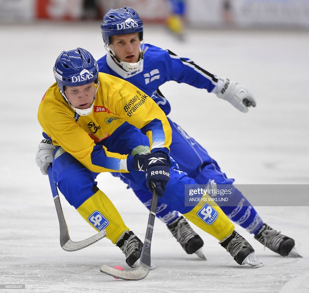 Sweden's Daniel Berlin and Finland's Ilari Moisala vie during Bandy World Championship semifinal match Sweden vs Finland in Vanersborg, Sweden, February 2, 2013.