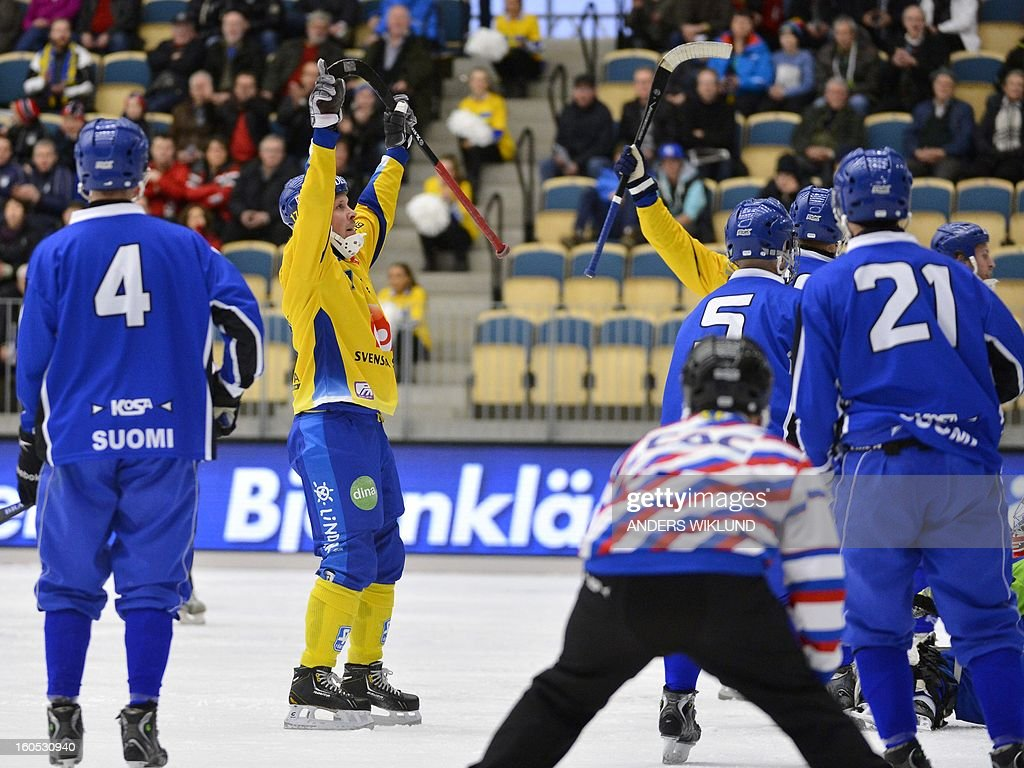 Sweden's Daniel Mossberg cheer after the 4-1 goal during Bandy World Championship semifinal match Sweden vs Finland in Vanersborg, Sweden, February 2, 2013.
