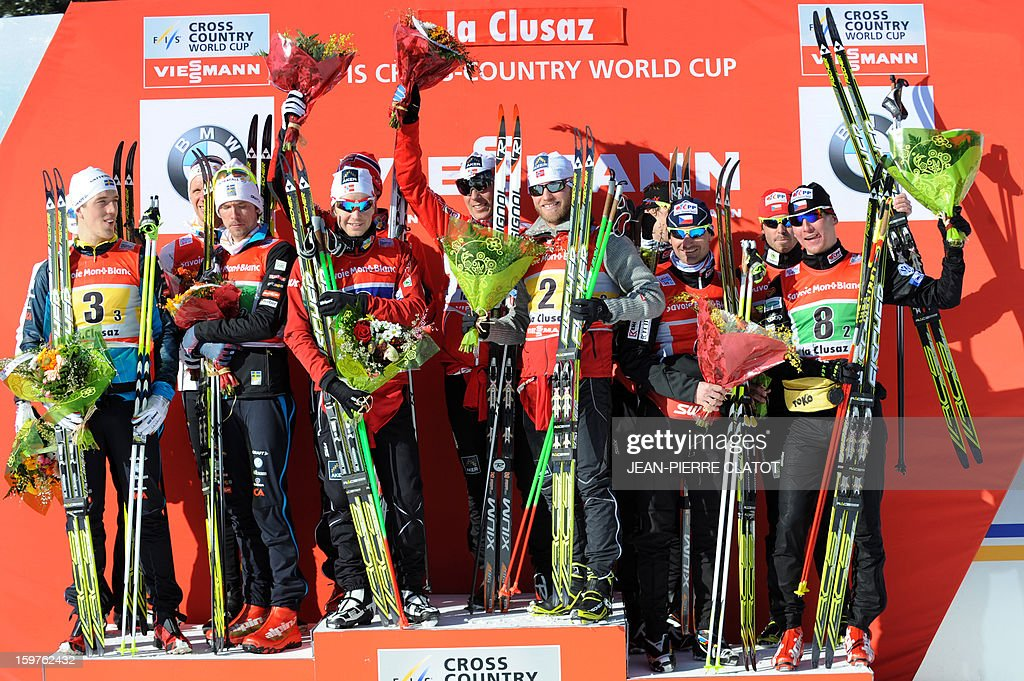 Sweden's Daniel Richardsson, Johan Olsson, Calle Halfvarsson and Marcus Hellner (second), Norway's Eldar Roenning, Didrik Toenseth, Martin Johnsrud Sundby and Sjur Roethe (first) and Czech Republic's Jiri Magal, Lukas Bauer, Ales Razym and Martin Jaksof (third) pose on the podium of the Nordic skiing combined World Cup relay (4 x 7,5 km) on January 20, 2013 in La Clusaz, eastern France.