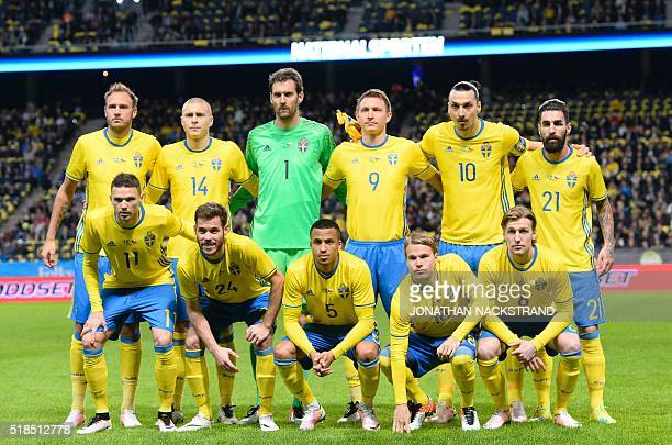 Swedens defender Andreas Granqvist defender Victor Nilsson Lindelof goalkeeper Andreas Isaksson midfielder Kim Kallstrom forward and team captain...