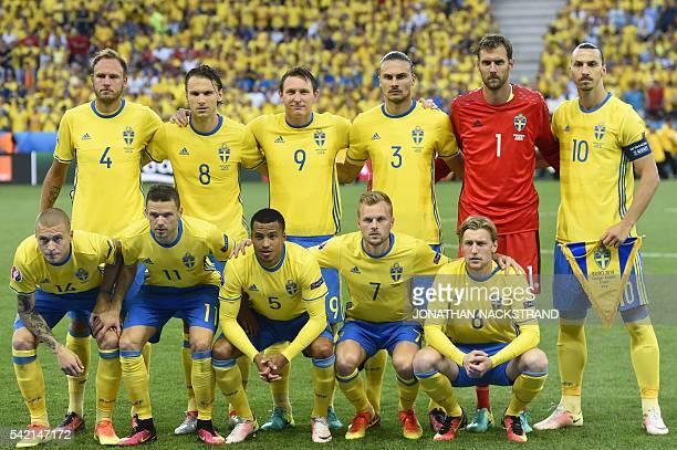 Sweden's defender Andreas Granqvist Sweden's midfielder Albin Ekdal Sweden's midfielder Kim Kallstrom Sweden's defender Erik Johansson Sweden's...