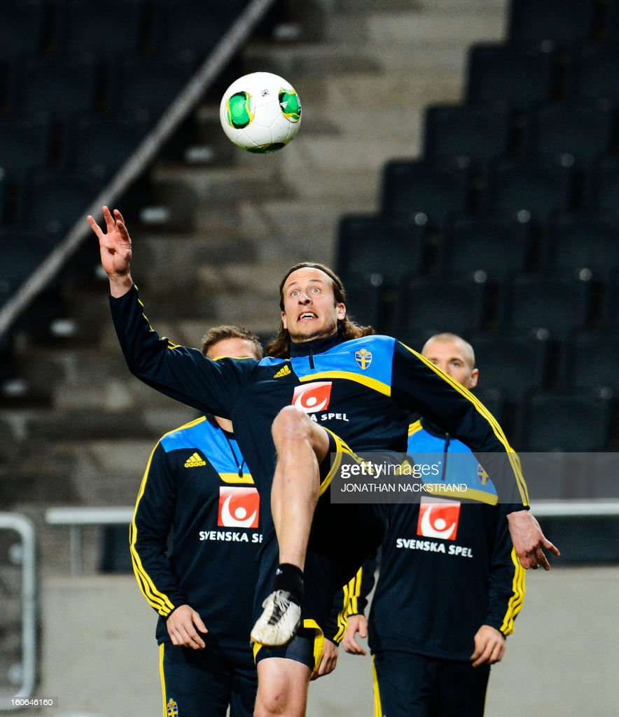 Sweden's Defender Jonas Olsson takes part in a training session of the Swedish national football team at the 'Friends Arena' in Stockholm, Sweden, on February 4, 2013 two days before the FIFA World Cup 2014 friendly match Sweden vs Argentina.