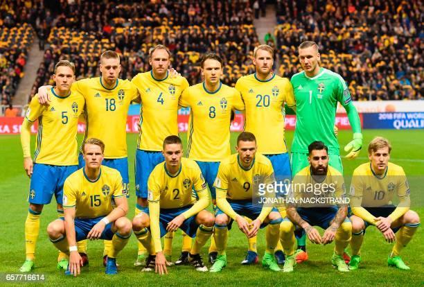 Sweden's defender Ludwig Augustinsson defender Pontus Jansson defender Andreas Granqvist midfielder Albin Ekdal forward Ola Toivonen and goalkeeper...