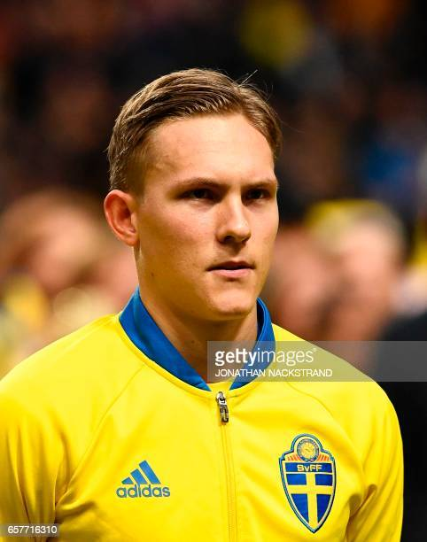 Sweden's defender Ludwig Augustinsson is pictured prior to the FIFA World Cup 2018 qualification football match between Sweden and Belarus in Solna...