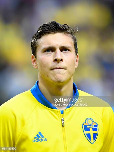 Sweden's defender Victor Lindelof is pictured prior to the FIFA World Cup 2018 qualification football match between Sweden and France in Solna on...