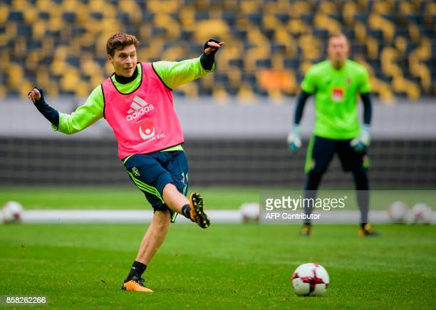 Sweden's defender Victor Lindelof passes the ball during a training session of the Swedish national football team on the eve of the WC 2018 football...