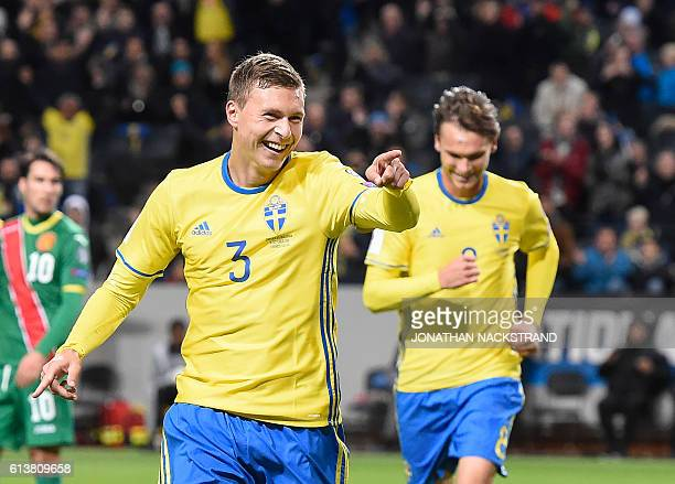 Sweden's defender Victor Nilsson Lindelof celebrates after scoring during the WC 2018 football qualification match between Sweden and Bulgaria in...