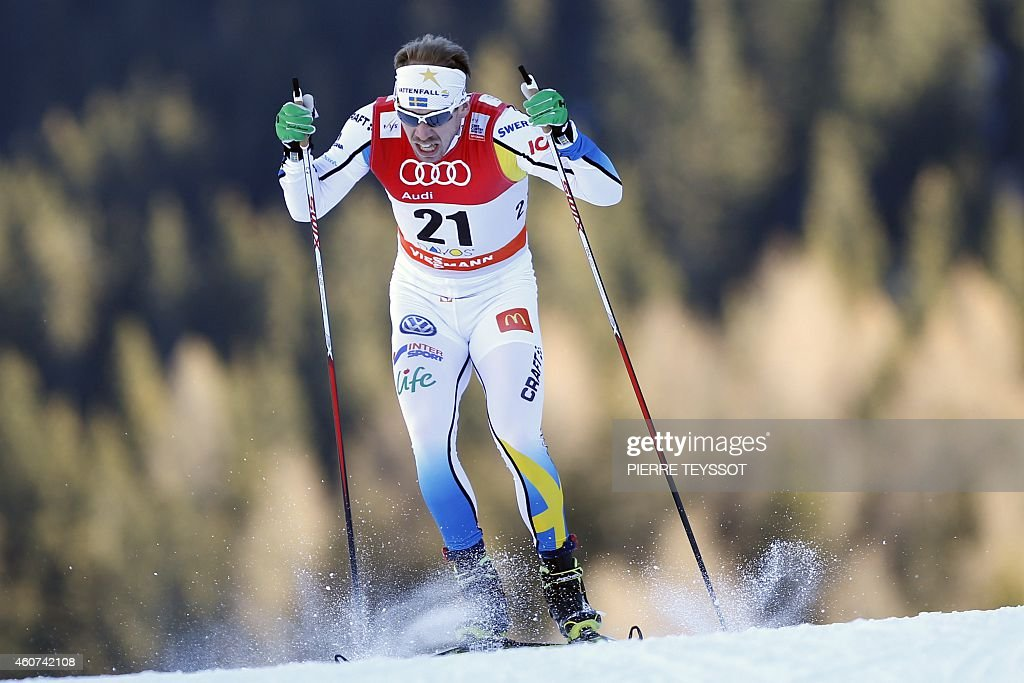 Sweden's Emil Joesson competes during the qualification of the men 1.3 km sprint free event of the Nordic skiing FIS Cross-country World Cup, in Davos on December 21, 2014.