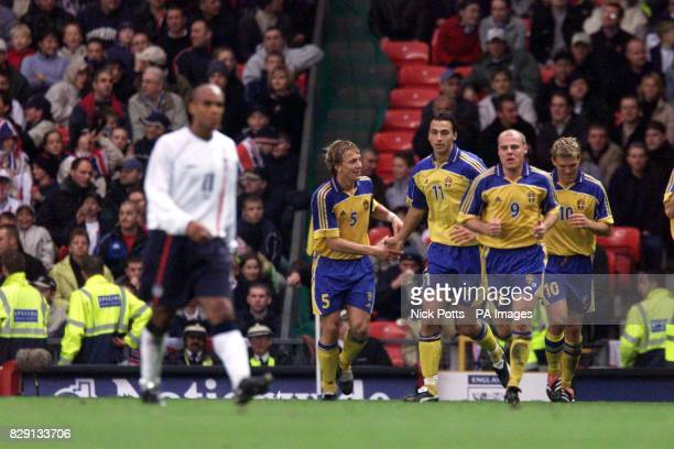 Sweden's Erik Edman Zlatan Ibrahimovic Magnus Svensson and Marcus Allback celebrate the equaliser against England during the Nationwide International...