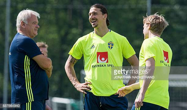 Sweden's forward and team captain Zlatan Ibrahimovic and midfielder Emil Forsberg attend a training session in Bastad on June 2 where the team stays...