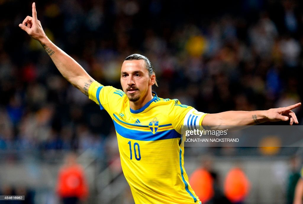 Sweden's forward and team captain Zlatan Ibrahimovic celebrates after scoring during the friendly football match between Sweden and Estonia at...