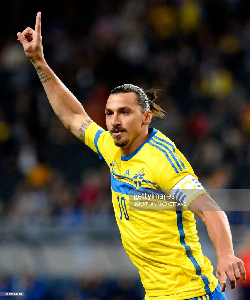 Sweden's forward and team captain Zlatan Ibrahimovic celebrates after scoring the first goal during the friendly football match between Sweden and...