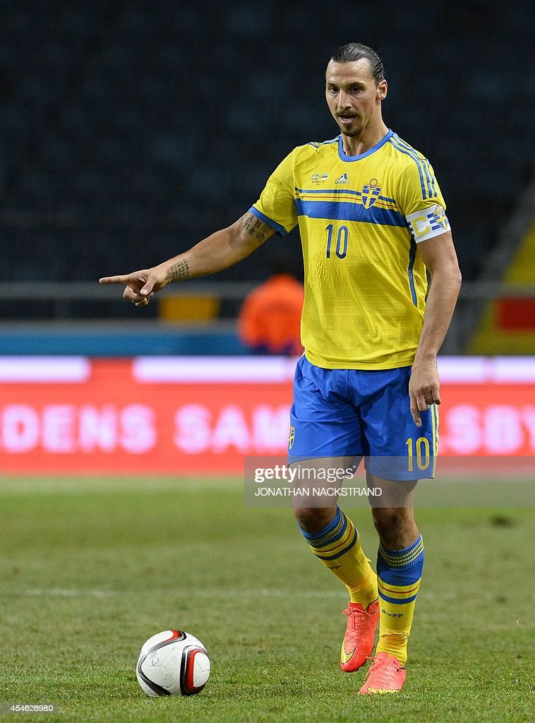 Sweden's forward and team captain Zlatan Ibrahimovic controls the ball during the friendly football match between Sweden and Estonia at Friends Arena...