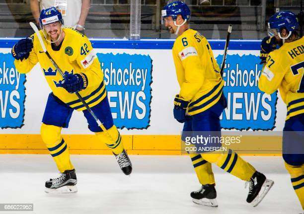 Sweden´s forward Joakim Norsdtrom celebrates his teams fourth goal during the IIHF Men's World Championship Ice Hockey semifinal match between Sweden...