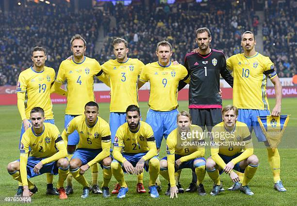 Sweden's forward Marcus Berg defender Andreas Granqvist defender Mikael Antonsson midfielder Kim Kallstrom goalkeeper Andreas Isaksson and forward...