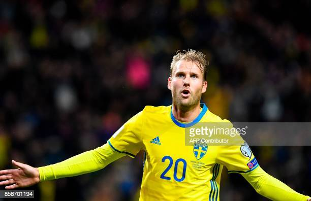 Sweden's forward Ola Toivonen celebrates after scoring a goal during the FIFA World Cup 2018 qualifying match between Sweden and Luxembourg in Solna...