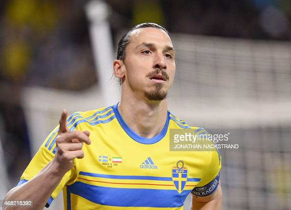 Sweden's forward Zlatan Ibrahimovic celebrates after scoring during the friendly international football match between Sweden and Iran at the Friends...