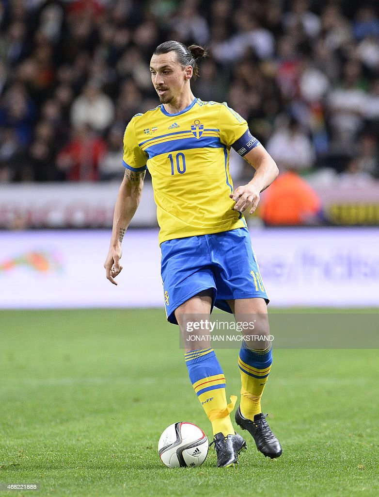 Sweden's forward Zlatan Ibrahimovic controls the ball during the friendly international football match between Sweden and Iran at the Friends Arena...