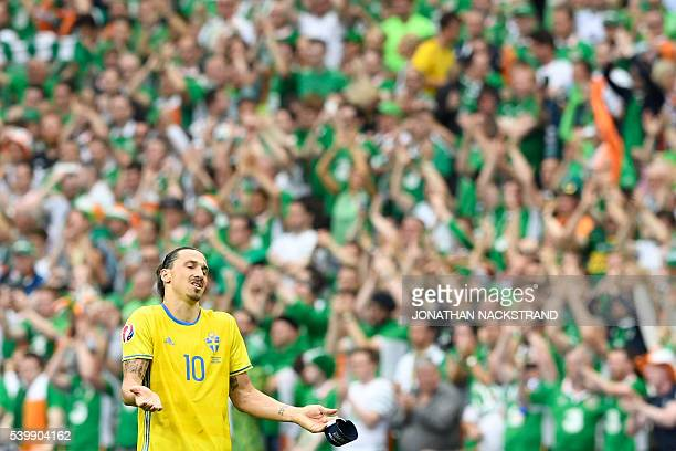 TOPSHOT Sweden's forward Zlatan Ibrahimovic gestures at the end of the Euro 2016 group E football match between Ireland and Sweden at the Stade de...