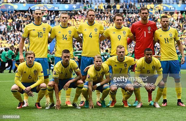 Sweden's forward Zlatan Ibrahimovic Sweden's defender Victor NilssonLindelof Sweden's defender Andreas Granqvist Sweden's midfielder Kim Kallstrom...