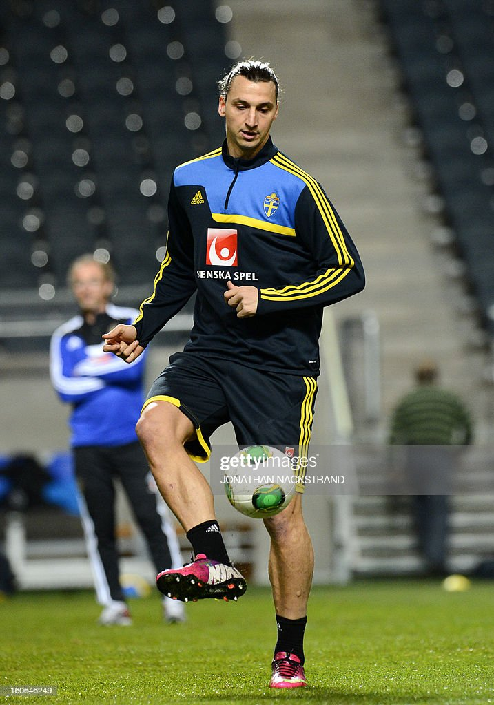 Sweden's forward Zlatan Ibrahimovic takes part in a training session of the Swedish national football team at the 'Friends Arena' in Stockholm, Sweden, on February 4, 2013 two days before the FIFA World Cup 2014 friendly match Sweden vs Argentina.