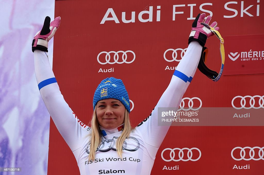 Sweden's <a gi-track='captionPersonalityLinkClicked' href=/galleries/search?phrase=Frida+Hansdotter&family=editorial&specificpeople=4140483 ng-click='$event.stopPropagation()'>Frida Hansdotter</a> celebrates after taking second place of the FIS Alpine Skiing World Cup Women's Slalom in Meribel on March 21, 2015. AFP PHOTO / PHILIPPE DESMAZES