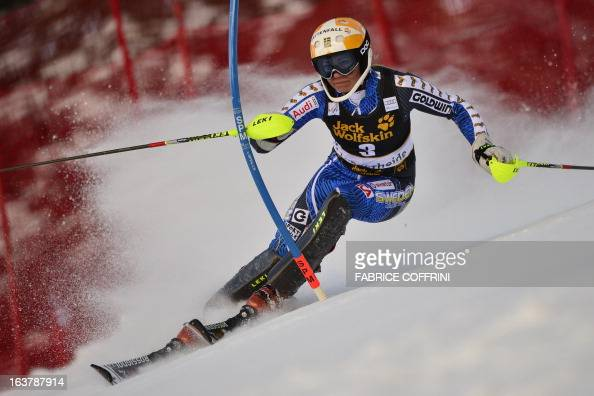 Sweden's Frida Hansdotter competes during the Women Slalom race at the Alpine ski World Cup finals on March 16 2013 in Lenzerheide AFP PHOTO /...