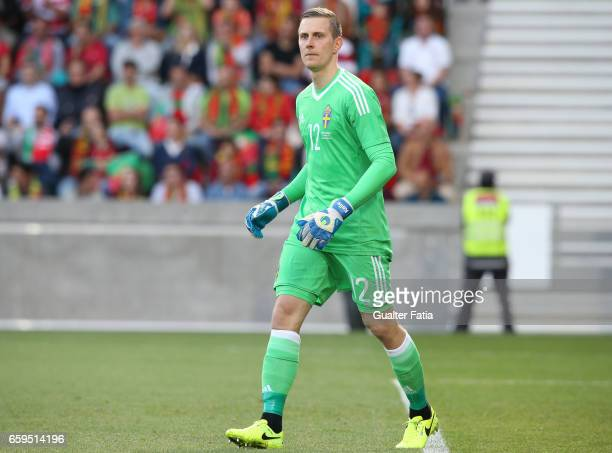 Sweden«s goalkeeper KarlJohan Johnsson in action during the International Friendly match between Portugal and Sweden at Estadio dos Barreiros on...
