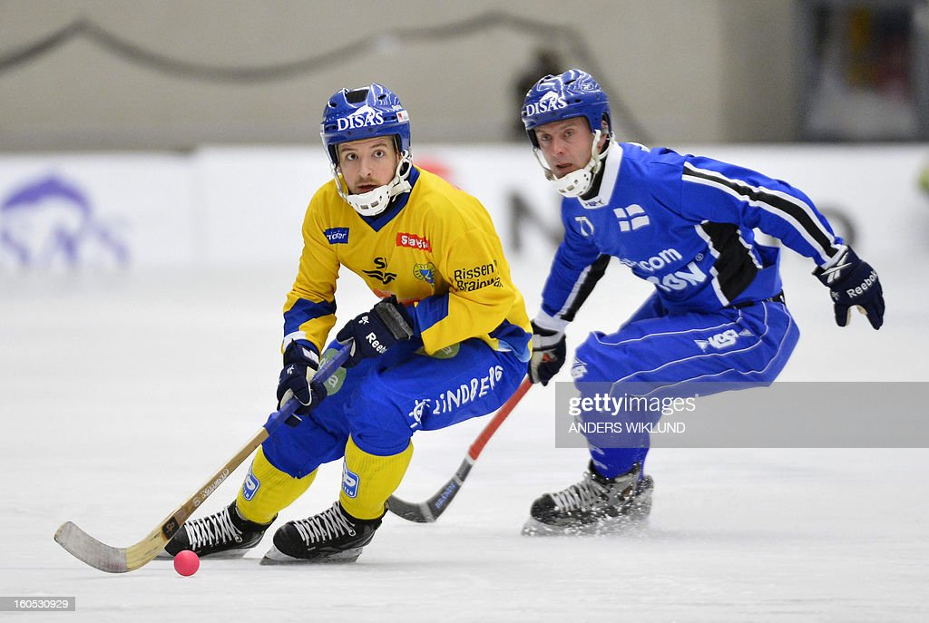 Sweden's Hans Andersson and Finland's Sami Laakkonen vie during Bandy World Championship semifinal match Sweden vs Finland in Vanersborg, Sweden, February 2, 2013. AFP PHOTO / SCANPIX / ANDERS WIKLUND SWEDEN OUT