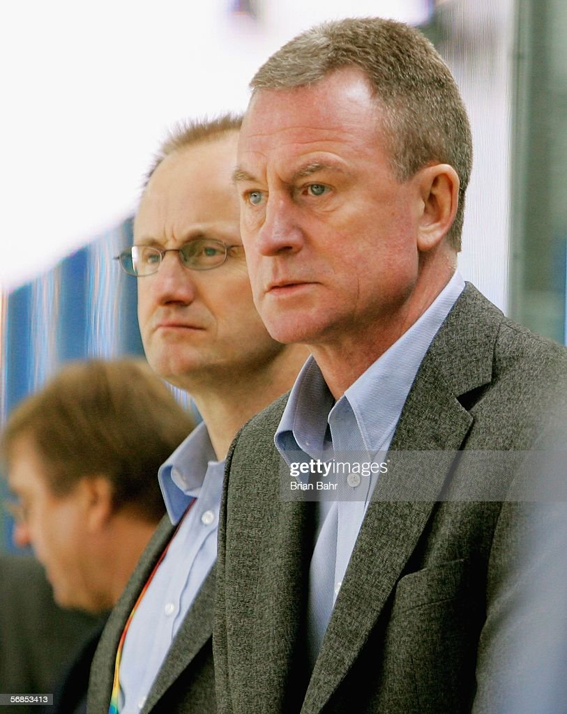 Sweden's head coach Bengt Ake Gustafsson watches the game during the men's ice hockey Preliminary Round Group B match between Kazakhstan and Sweden...