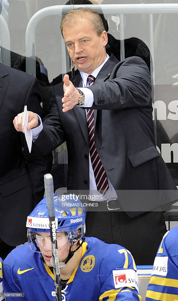 Sweden's head coach BengtAke Gustafsson gestures during the IIHF Ice Hockey World Championship quarterfinal match Sweden vs Denmark in the southern...