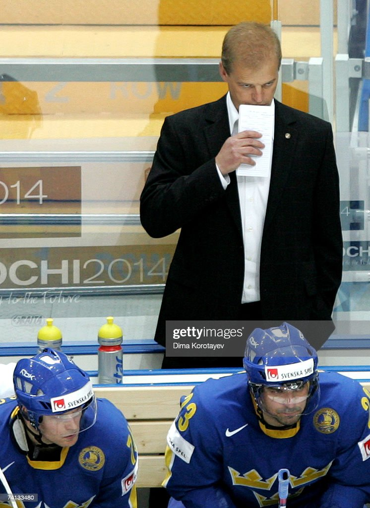 Sweden's Head Coach BengtAke Gustafsson in action during the IIHF World Ice Hockey Championship semifinal match between Canada and Sweden at the...