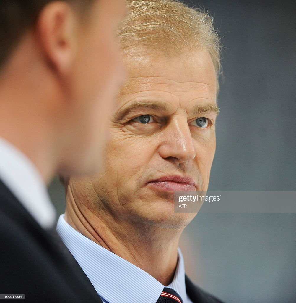 Sweden's head coach BengtAke Gustafsson looks on during the IIHF Ice Hockey World Championship quarterfinal match Sweden vs Denmark in the southern...