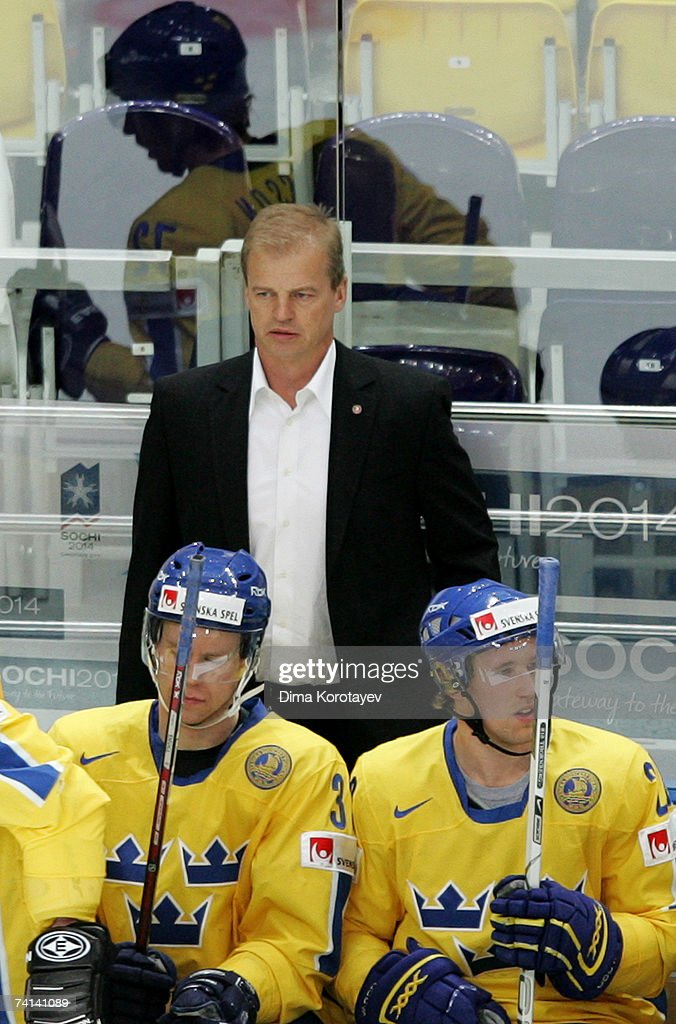 Sweden's Head Coach BengtAke Gustafsson looks on during the IIHF World Ice Hockey Championship bronze medal match between Russia and Sweden at the...