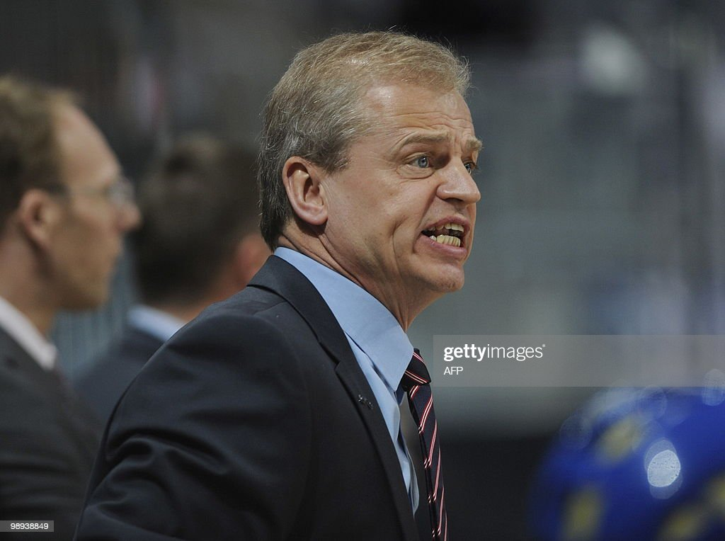 Sweden's head coach BengtAke Gustafsson shouts instructions during the IIHF Ice Hockey World Championship match Norway vs Sweden in the southern...