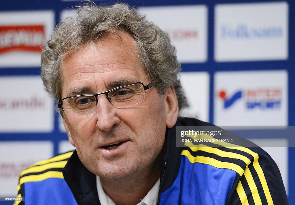 Sweden's head coach Erik Hamren addresses a press conference of the Swedish national football team at a hotel in Stockholm, Sweden, on February 4, 2013 two days before the FIFA World Cup 2014 friendly match Sweden vs Argentina. AFP PHOTO/JONATHAN NACKSTRAND