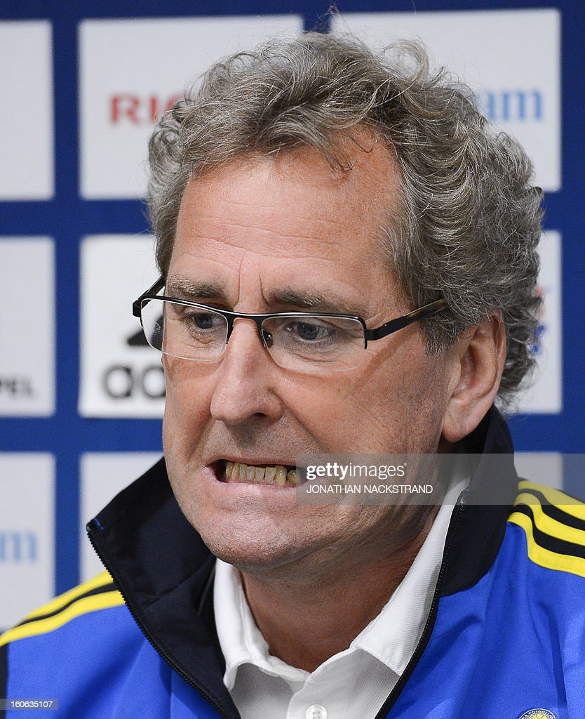 Sweden's head coach Erik Hamren addresses a press conference of the Swedish national football team at a hotel in Stockholm, Sweden, on February 4, 2013 two days before the FIFA World Cup 2014 friendly match Sweden vs Argentina.