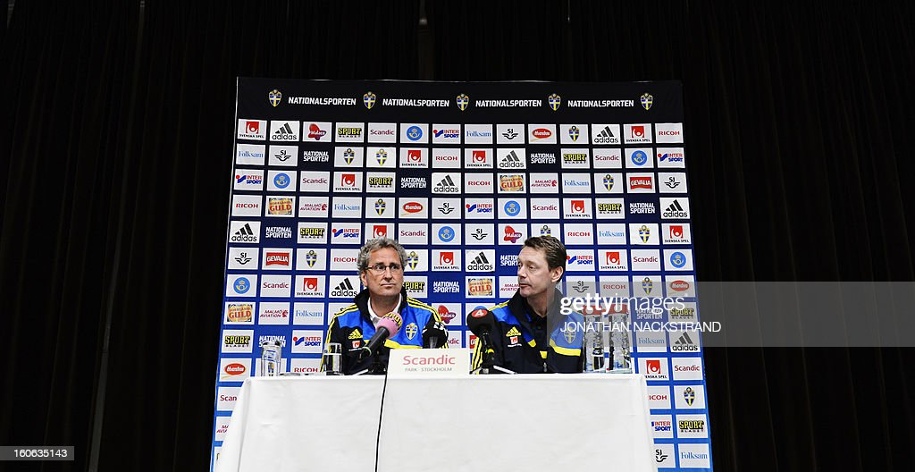 Sweden's head coach Erik Hamren (L) addresses a press conference of the Swedish national football team at a hotel in Stockholm, Sweden, on February 4, 2013 two days before the FIFA World Cup 2014 friendly match Sweden vs Argentina.AFP PHOTO/JONATHAN NACKSTRAND