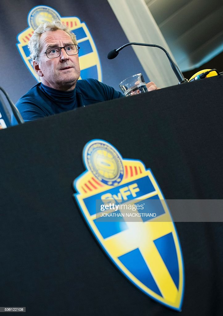 Sweden's head coach Erik Hamren attends a press conference in Bastad, Sweden, on May 31, 2016, where the team stays for a training camp as part of preparations for the upcoming Euro 2016 European football championships. / AFP / JONATHAN