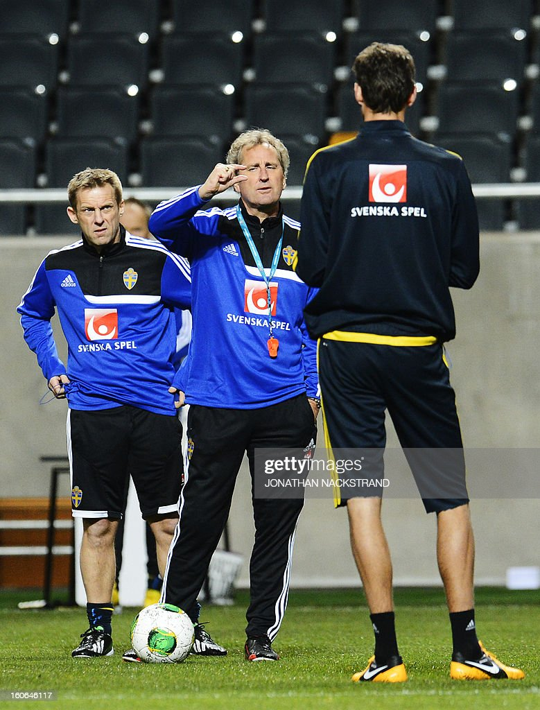 Sweden's head coach Erik Hamren takes part in a training session of the Swedish national football team at the 'Friends Arena' in Stockholm, on February 4, 2013 two days before the FIFA World Cup 2014 friendly match Sweden vs Argentina. AFP PHOTO/JONATHAN NACKSTRAND