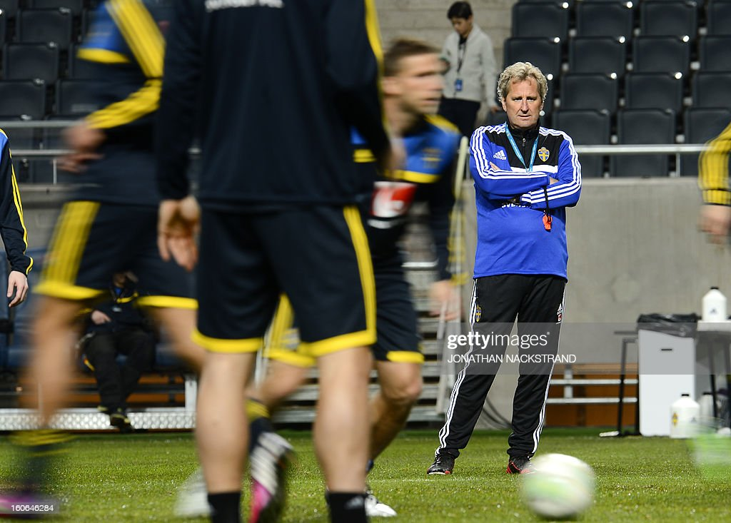 Sweden's head coach Erik Hamren takes part in a training session of the Swedish national football team at the 'Friends Arena' in Stockholm, Sweden, on February 4, 2013 two days before the FIFA World Cup 2014 friendly match Sweden vs Argentina.