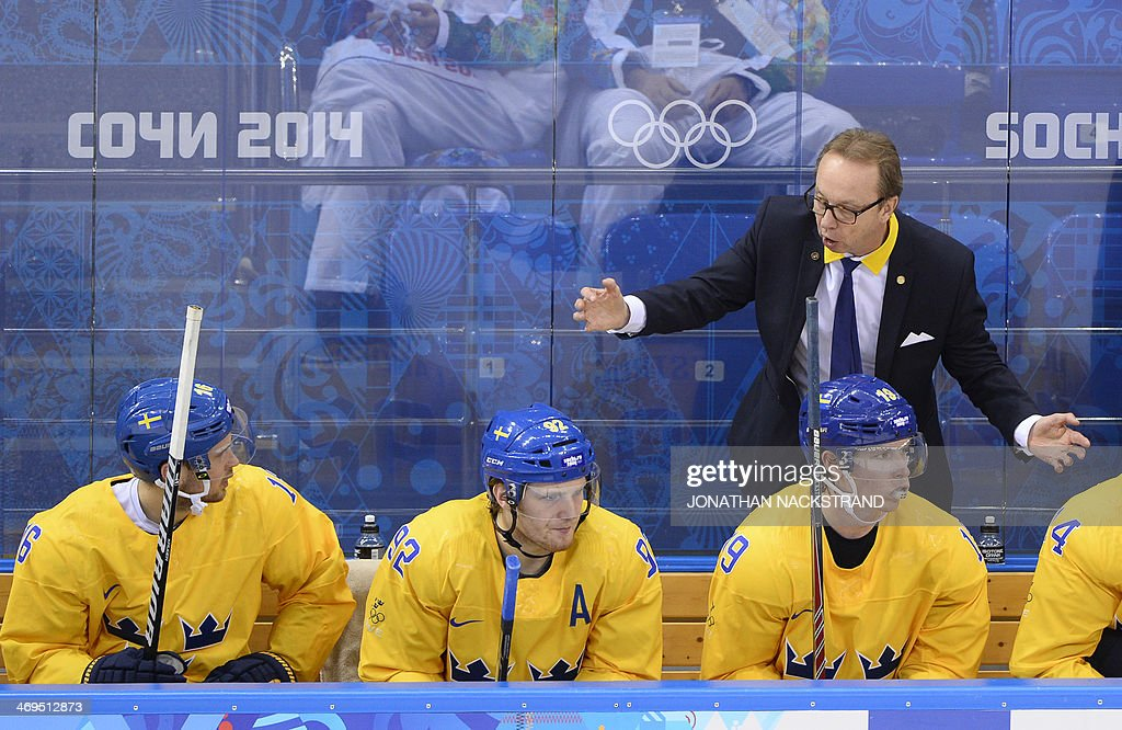 Sweden's head coach Par Marts reacts during the Men's Ice Hockey Group C match Sweden vs Latvia at the Shayba Arena during the Sochi Winter Olympics on February 15, 2014.