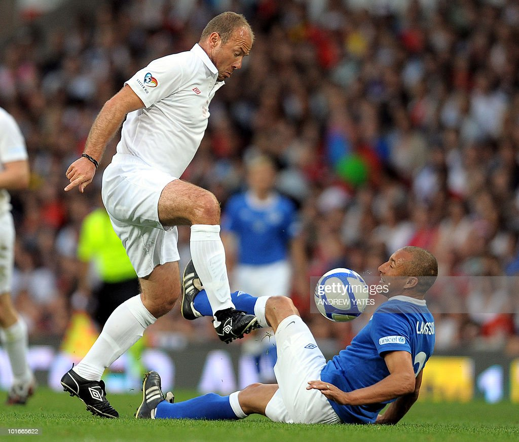 Sweden's Henrik Larsson (R) competes with England's Alan Shearer during the Unicef Soccer Aid charity football match at Old Trafford in Manchester, north-west England on June 6, 2010. Soccer Aid is the brainchild of Robbie Williams and all money raised through profits from ticket sales and donations made by viewers of ITV during the match will go to UNICEF�s work helping children around the world.