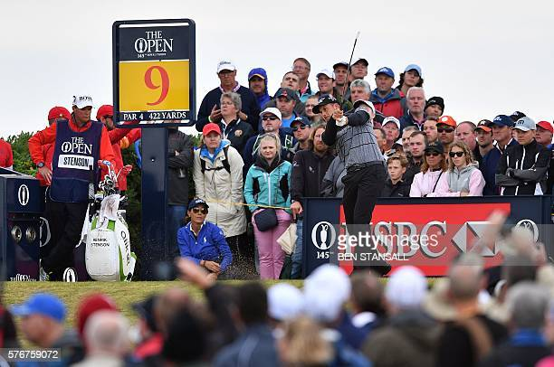 Sweden's Henrik Stenson plays from the 9th tee during his final round on day four of the 2016 British Open Golf Championship at Royal Troon in...