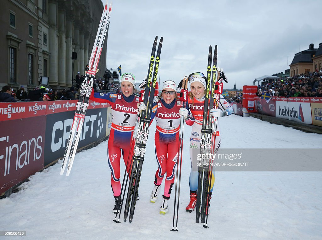 Sweden's Ingvid Flugstad Oestberg, Maiken Caspersen Falla of Norway and Sweden's Stina Nilsson celebrate after the final the women's World Cup classic Royal Palace sprint in central Stockholm on February 11, 2016 / AFP / TT News Agency / Soren Andersson/TT / Sweden OUT