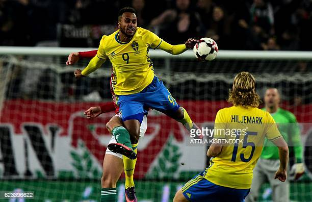 Sweden's Isaac Thelin and Sweden's Oscar Hiljemark vie with Hungary's Adam Pinter during the friendly football match Hunhgary vs Sweden in Budapest...