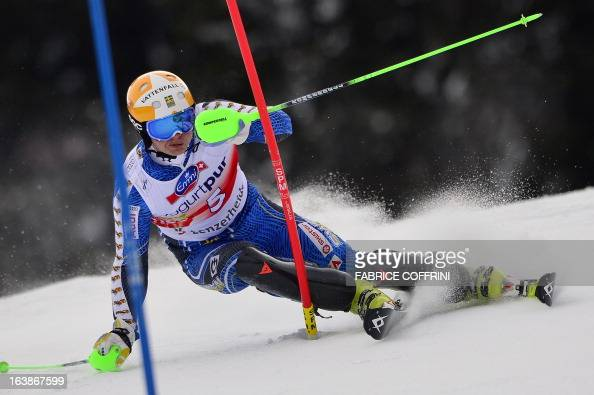 Sweden's Jens Byggmark competes during the Men Slalom race at the Alpine ski World Cup finals on March 17 2013 in Lenzerheide AFP PHOTO / FABRICE...