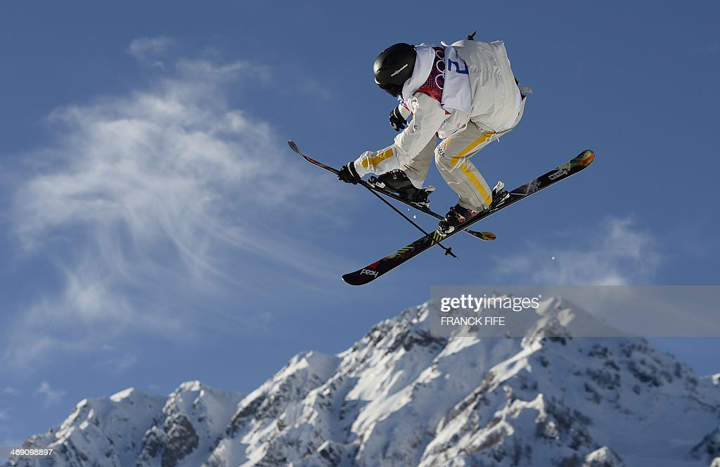 Sweden's Jesper Tjader competes in the Men's Freestyle Skiing Slopestyle qualifications at the Rosa Khutor Extreme Park during the Sochi Winter...