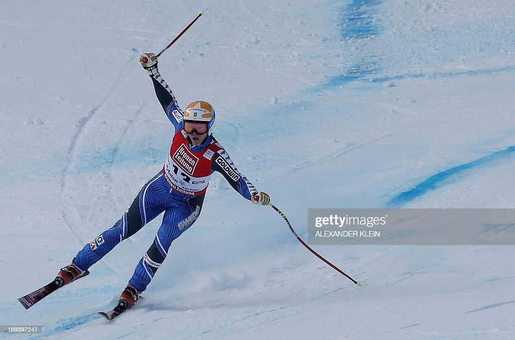 Sweden's Jessica Lindell-Vikarby competes during the women's World Cup Super G, on January 13, 2013 in St Anton am Arlberg, Austria. Slovenia's Tina Maze won ahead of Austria's Anna Fenninger and Switzerland's Fabienne Suter.